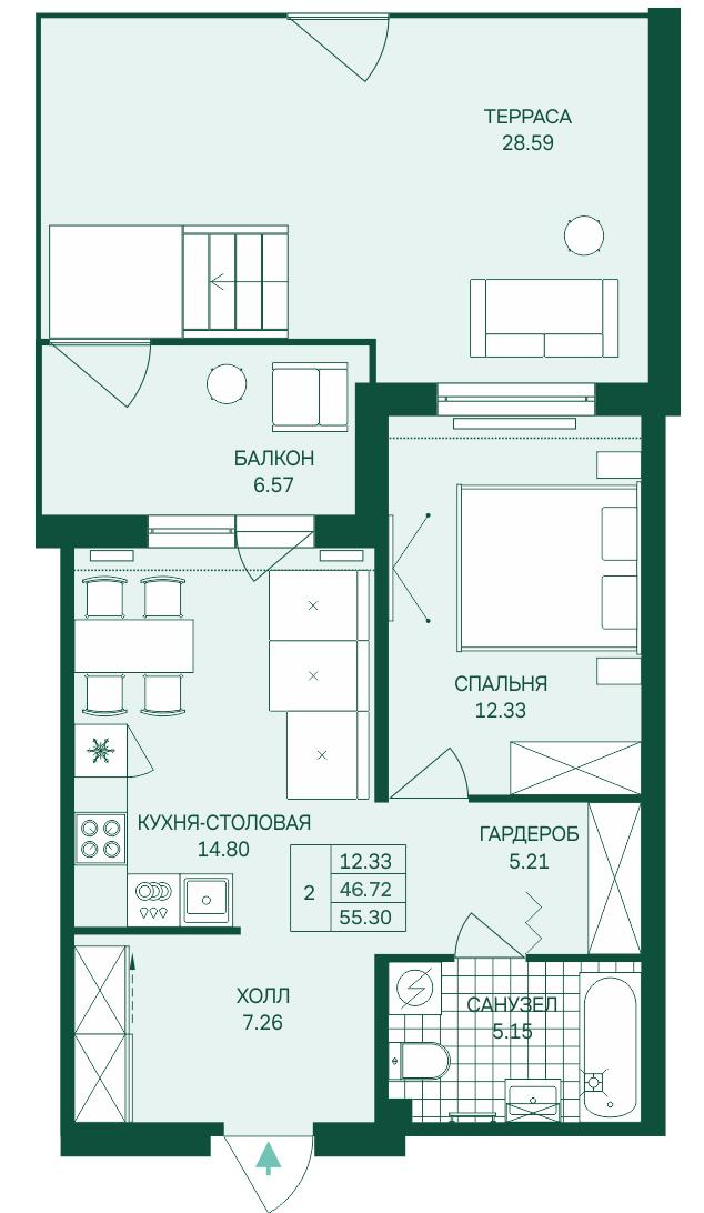 Планировка Двухкомнатная квартира (Евро) площадью 55.3 кв.м в ЖК «Grona Lund»