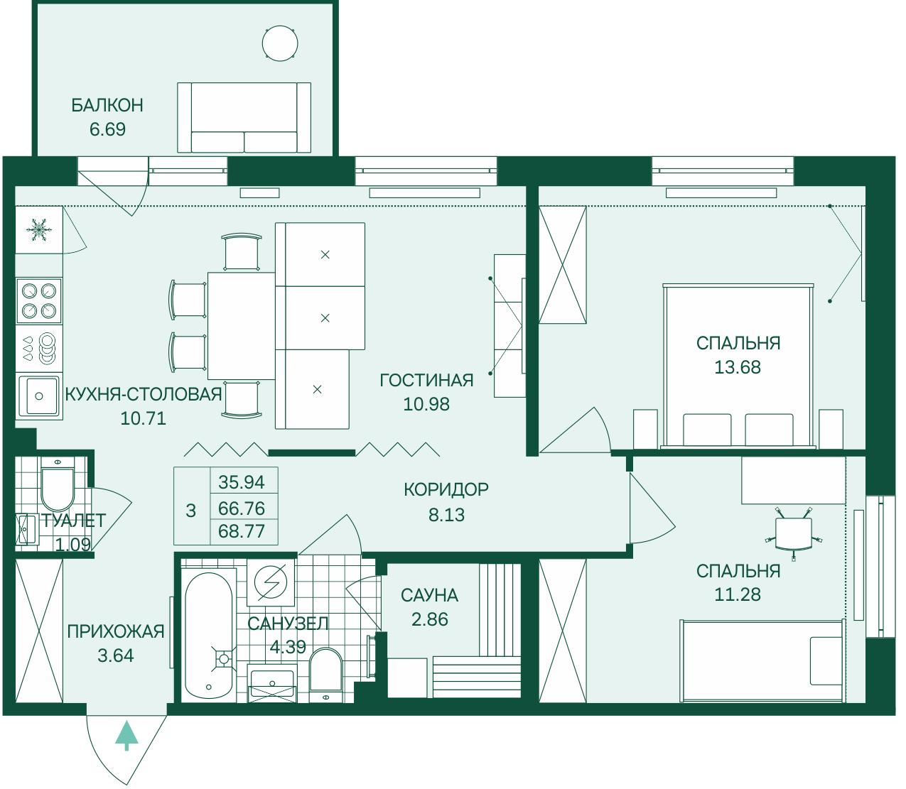 Планировка Трёхкомнатная квартира (Евро) площадью 68.77 кв.м в ЖК «Grona Lund»