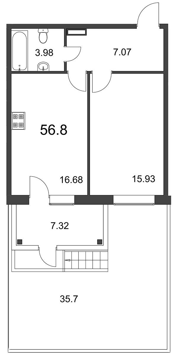 Планировка Однокомнатная квартира площадью 56.82 кв.м в ЖК «Grona Lund»