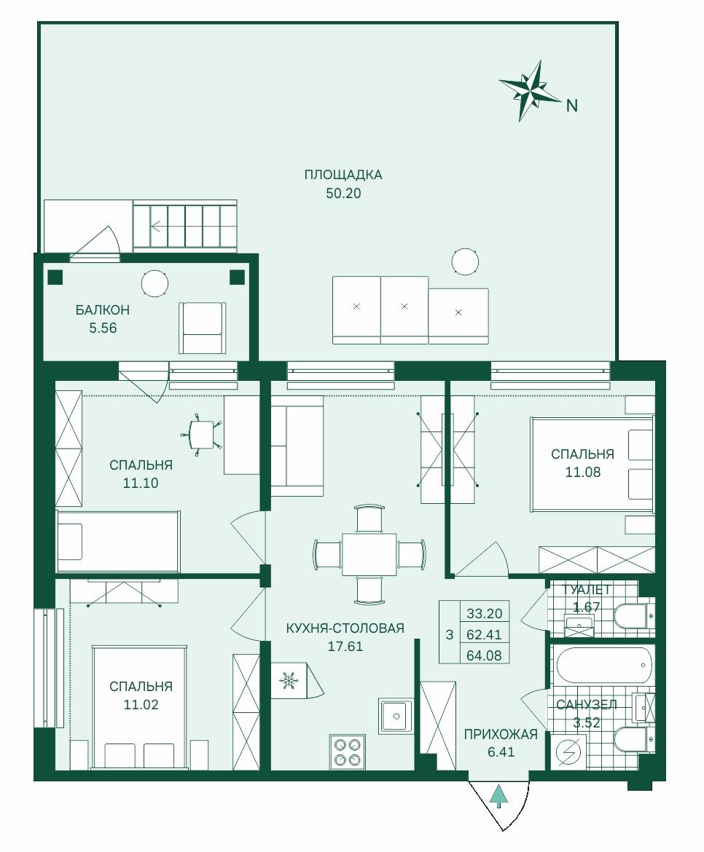 Планировка Четырёхкомнатная квартира (Евро) площадью 79.03 кв.м в ЖК «Grona Lund»