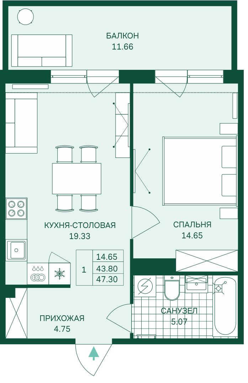 Планировка Двухкомнатная квартира (Евро) площадью 47.3 кв.м в ЖК «Grona Lund»
