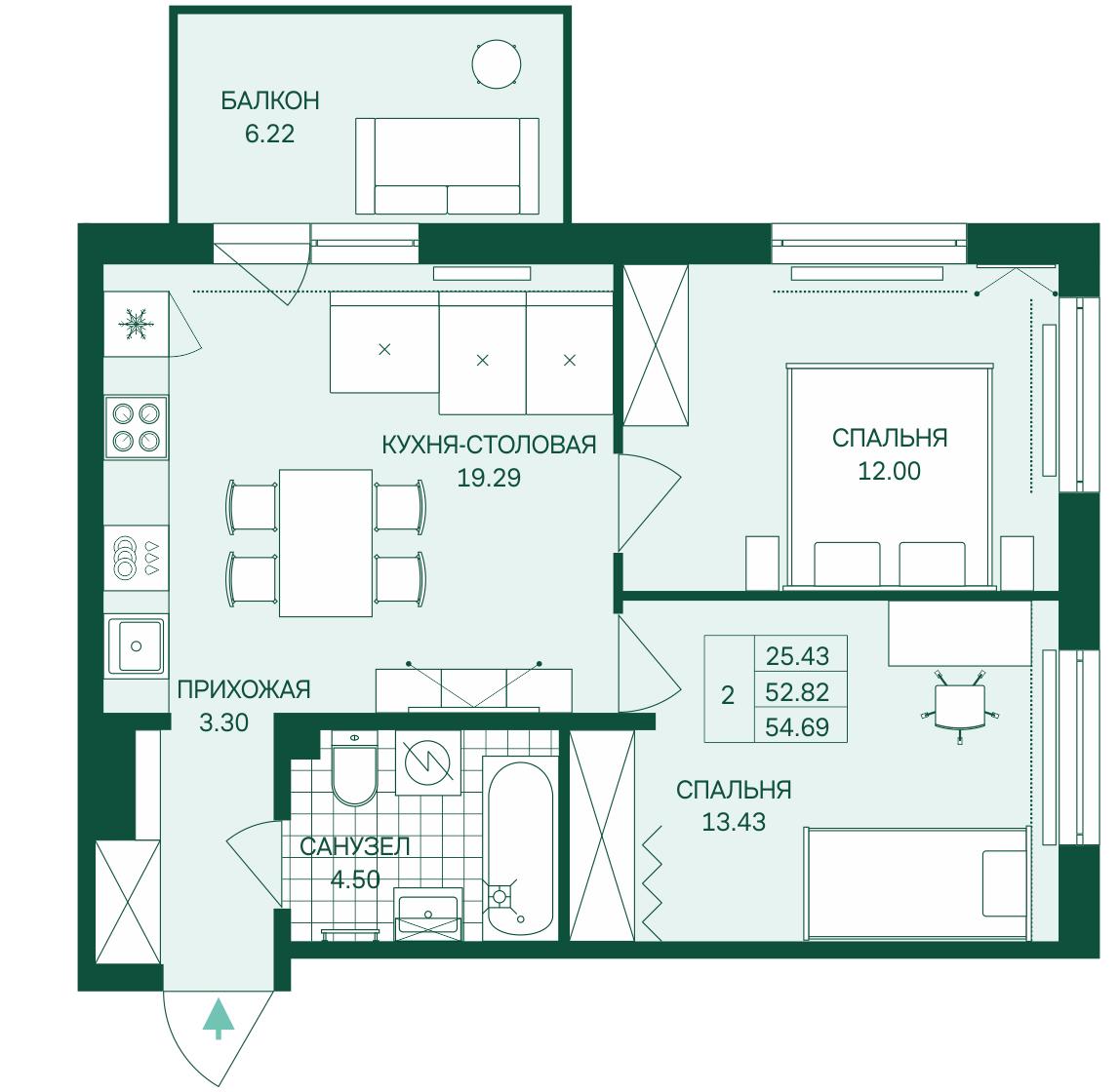 Планировка Трёхкомнатная квартира (Евро) площадью 54.39 кв.м в ЖК «Grona Lund»