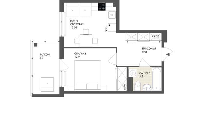 Планировка Однокомнатная квартира площадью 34.61 кв.м в ЖК «Grona Lund»