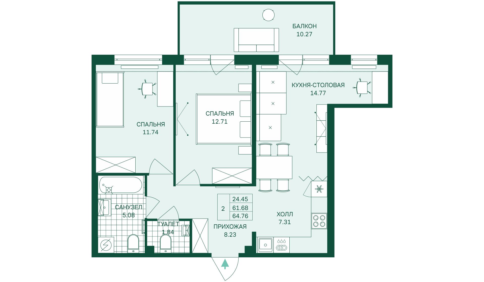 Планировка Трёхкомнатная квартира (Евро) площадью 64.76 кв.м в ЖК «Grona Lund»