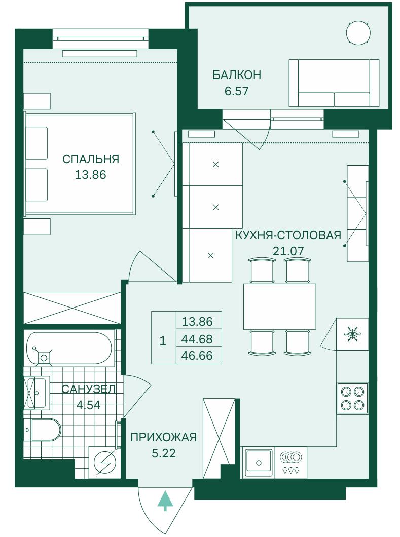 Планировка Однокомнатная квартира площадью 46.66 кв.м в ЖК «Grona Lund»