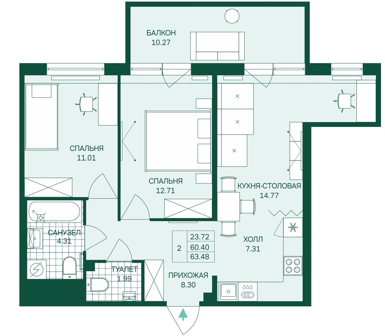 Планировка Трёхкомнатная квартира (Евро) площадью 63.48 кв.м в ЖК «Grona Lund»