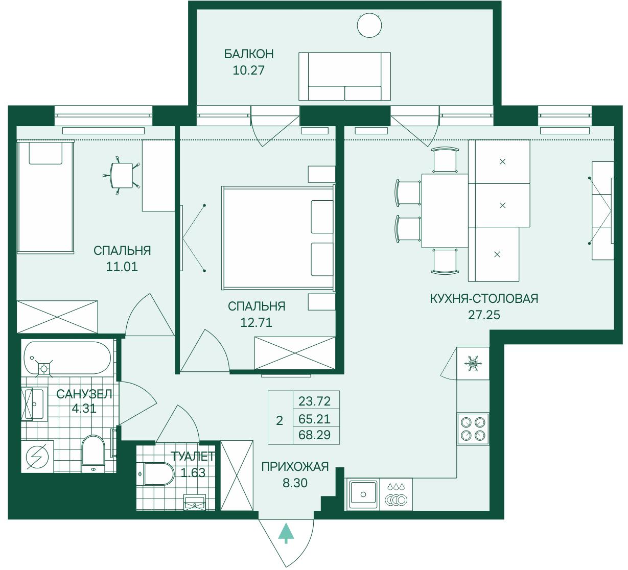 Планировка Двухкомнатная квартира площадью 68.29 кв.м в ЖК «Grona Lund»