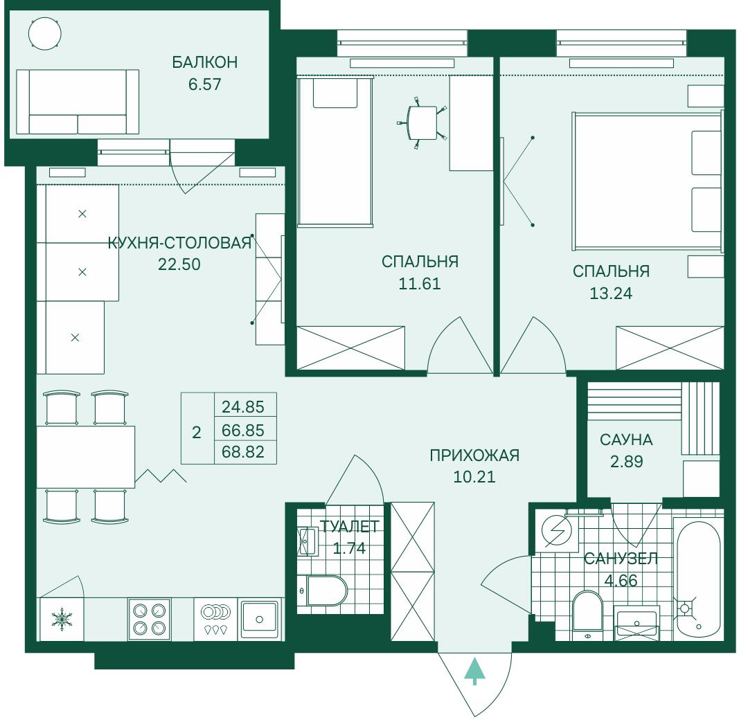 Планировка Трёхкомнатная квартира (Евро) площадью 68.82 кв.м в ЖК «Grona Lund»
