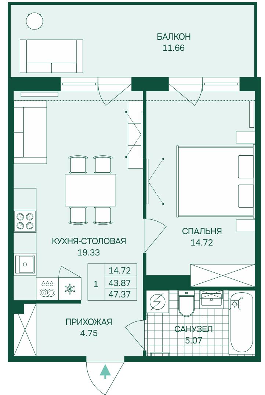 Планировка Двухкомнатная квартира (Евро) площадью 47.37 кв.м в ЖК «Grona Lund»