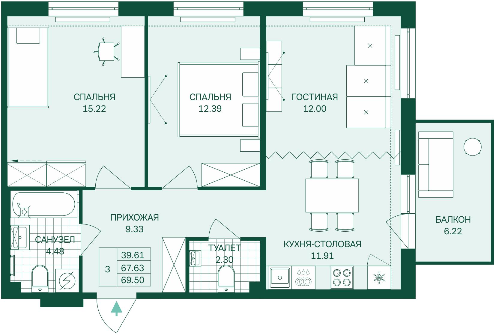 Планировка Трёхкомнатная квартира (Евро) площадью 69.5 кв.м в ЖК «Grona Lund»