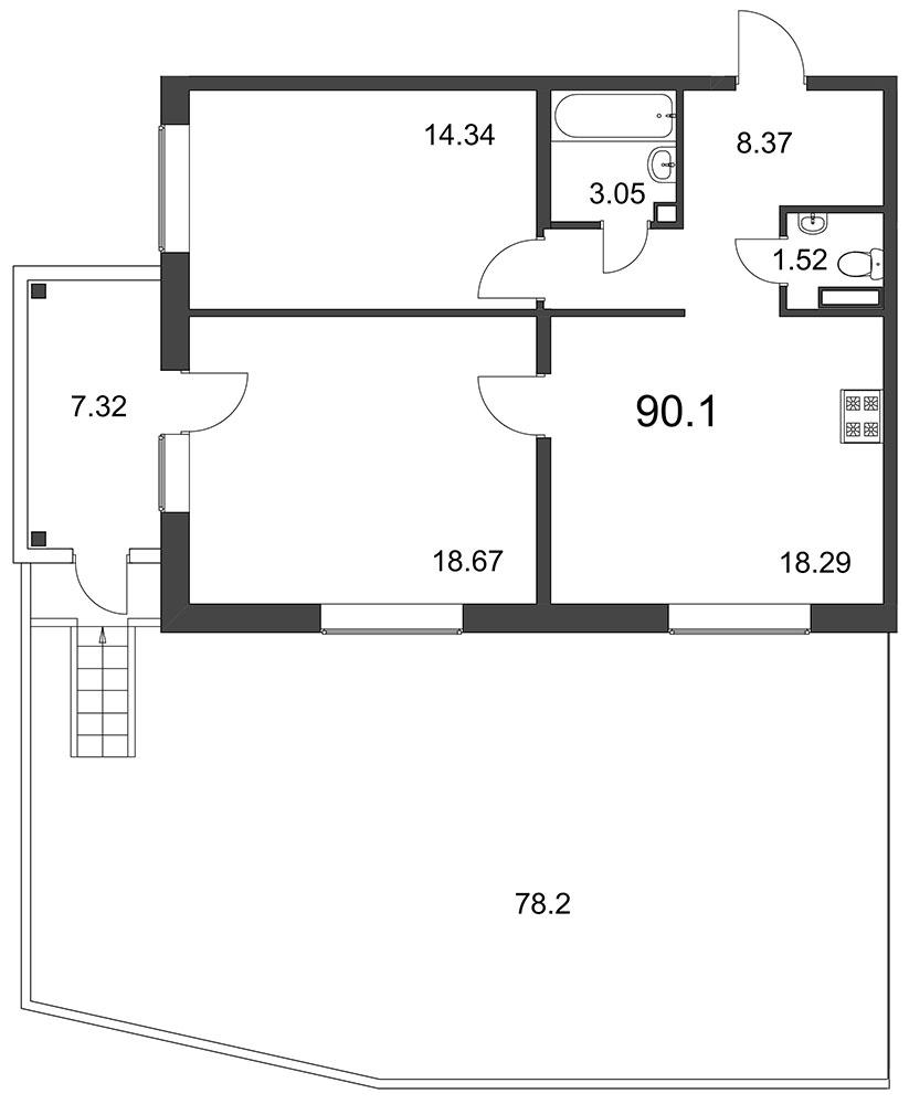 Планировка Двухкомнатная квартира площадью 90.1 кв.м в ЖК «Grona Lund»