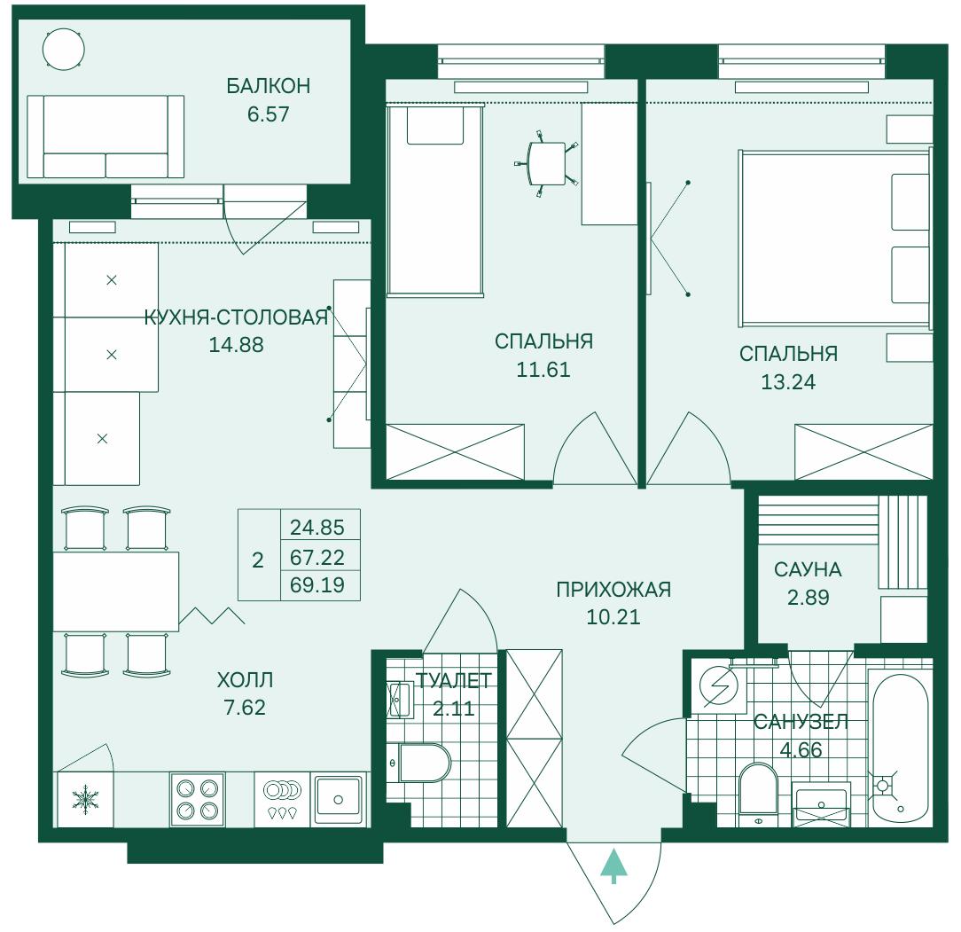 Планировка Трёхкомнатная квартира (Евро) площадью 69.19 кв.м в ЖК «Grona Lund»