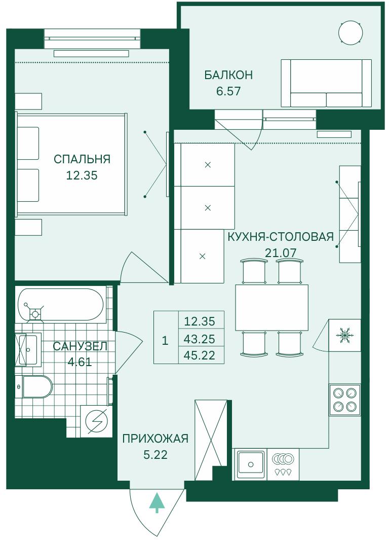 Планировка Двухкомнатная квартира (Евро) площадью 45.22 кв.м в ЖК «Grona Lund»